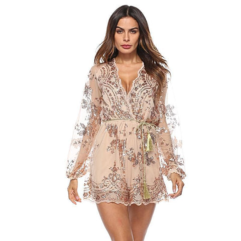 Pretty Little Sheer Sequins Romper - Arista Gems