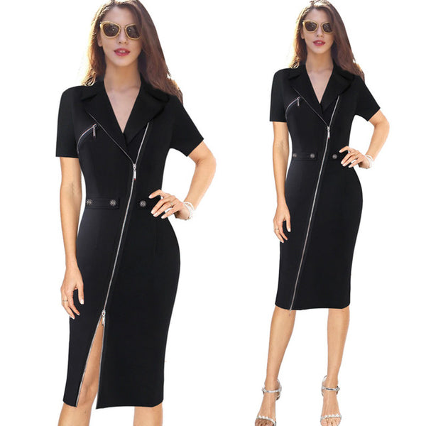 Elegant Lapel Asymmetric Dress - Arista Gems