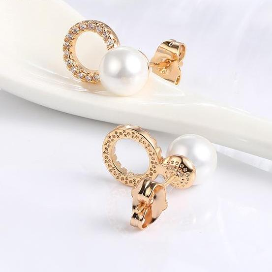 Gold Color Stud Pearl Earrings - Arista Gems
