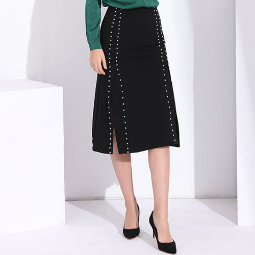 Vintage Style High Waist Black Long Skirt - Arista Gems