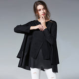 Women's Asymmetrical Ruffles Long sleeve A-line Shirt - Arista Gems