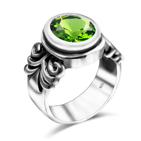 Pure 925 Sterling Silver Peridot Vintage Wedding Ring - Arista Gems