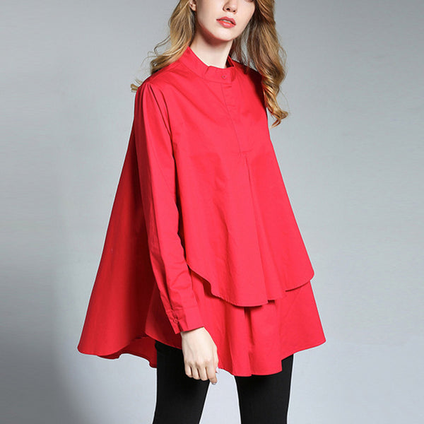 Stand Collar Long Sleeve Patchwork Split Asymmetrical Blouse - seraie