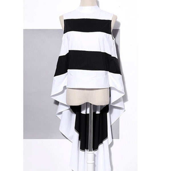 Striped Chiffon Sleeveless Asymmetrical Long Back Blouse - Arista Gems