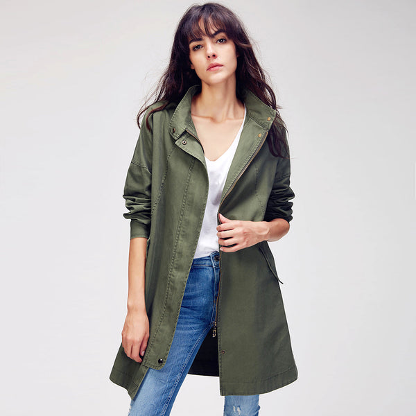 Women's Casual Split Side Cotton Trench Coat - Arista Gems