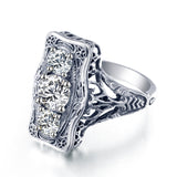 Classic Luxury 925 Sterling Silver Simulated Diamond Ring - Arista Gems