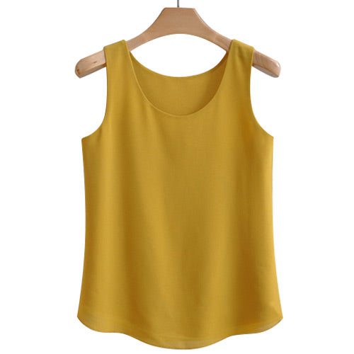 Women Soft Chiffon Sleeveless Casual Blouse - Arista Gems