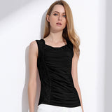 Women's Black Mesh Floral Sleeveless Blouse - Arista Gems