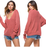 Sexy V Neck Thin Knitted Sweater - Arista Gems