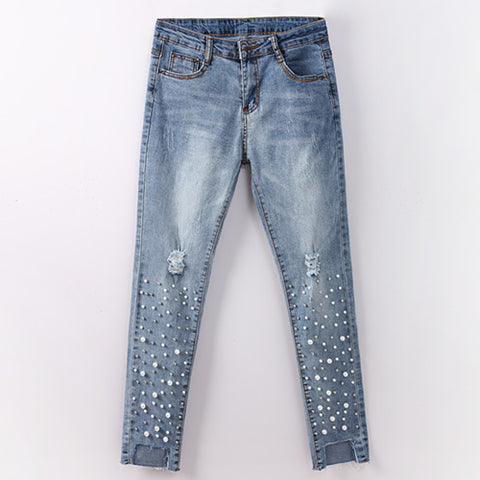Skinny Ripped Distressed Pearl Beads Jeans - Arista Gems