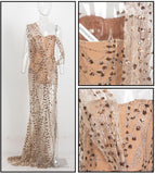 Gold Cross Over Cut Out Straps Glitter Long Dress - Arista Gems