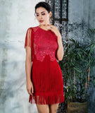 Fringed Decorative Lace Dress - Arista Gems