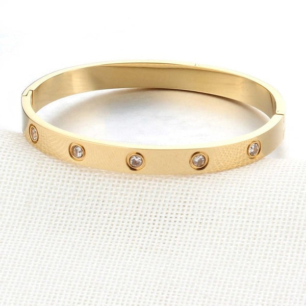 Stainless Steel Crystal Studded  Bangle - Arista Gems