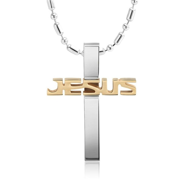 Stainless Steel Silver & Gold Cross Pendant Necklace - Arista Gems