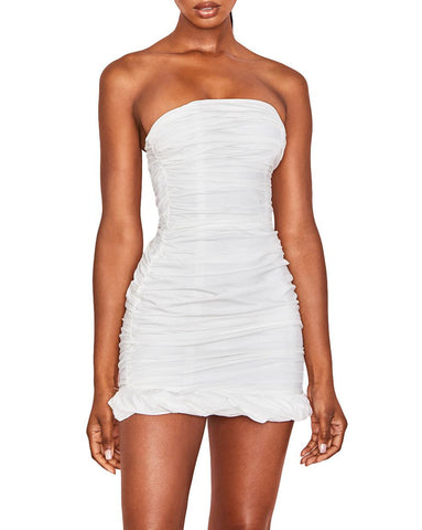 Strapless Ruched Bodycon Dress - seraie