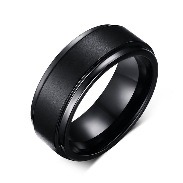 Black Tungsten Engagement Ring - seraie