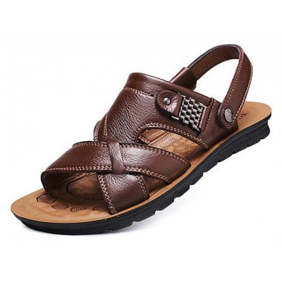 Men s Stylish Adjustable Beach Leather Plus size Sandals BROWN