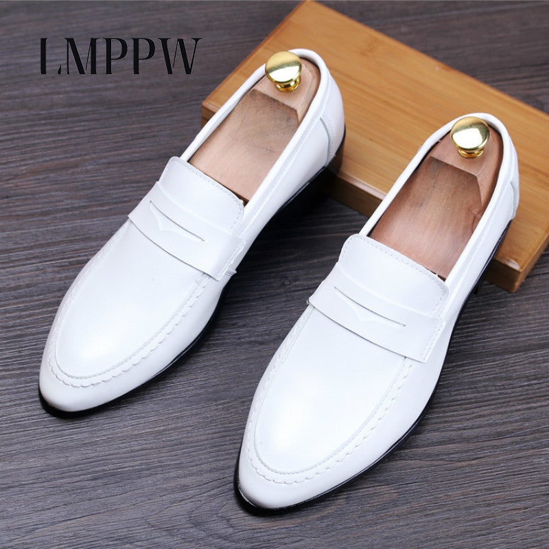 Black White Mens Pointed Toe Dress Shoes Luxury Brand Flats Shoes ...