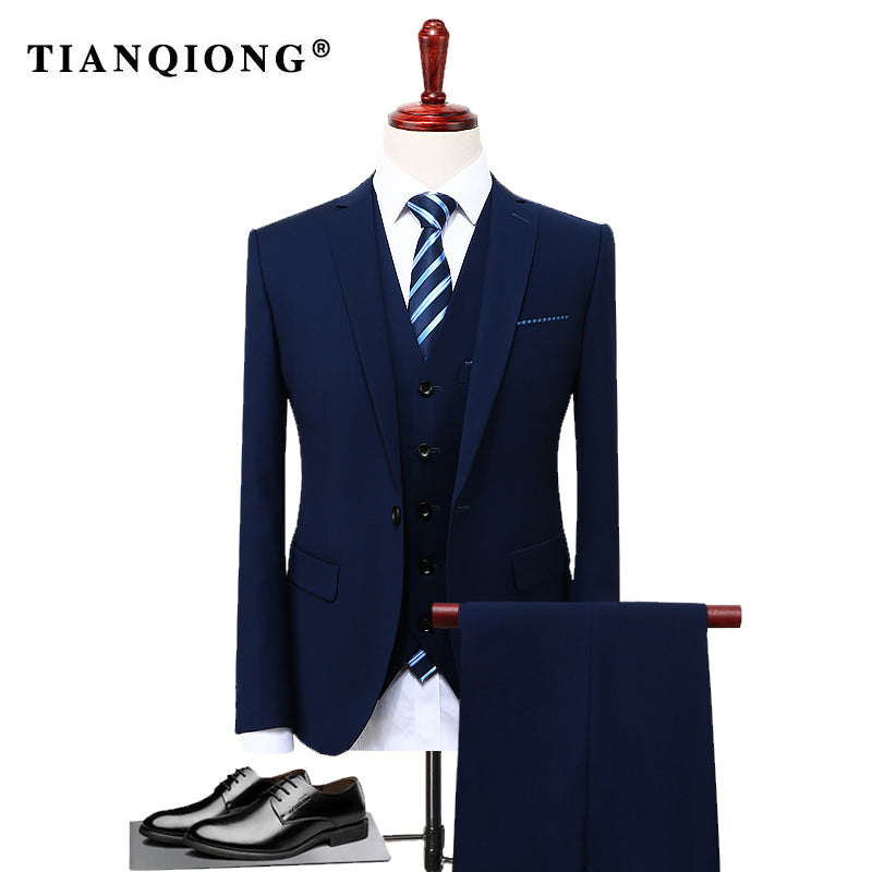TIAN QIONG Blue 3 Piece Suit Men Korean Fashion Business Mens ...