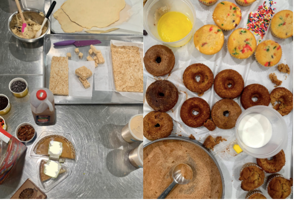 image of behind the scenes photoshoot with donuts and cupcakes
