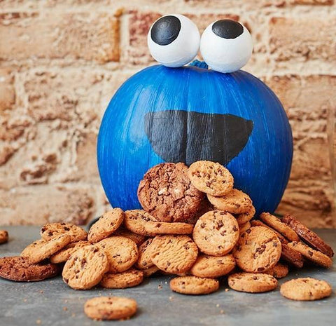 image of pumpkin decorated as cookie monster
