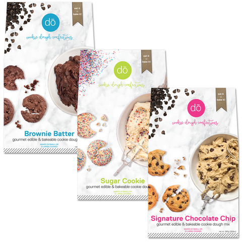 image of brownie batter, sugar cookie and chocolate chip baking mixes