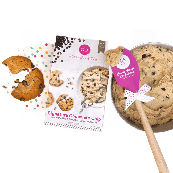 image of chocolate chip baking mix with spatula
