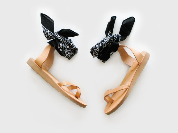 NATURAL GREEK BANDANA SANDALS