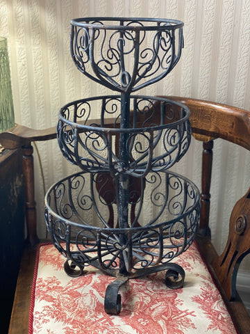 Wrought Iron 3 Tier Basket / Stand - Vintage