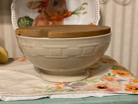 Longaberger Woven Traditions Footed Bowl - Ivory