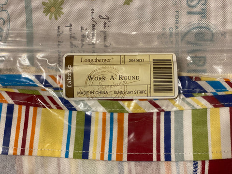 Longaberger Liner - Work A Round / Sunny Day Stripe.  Brand New
