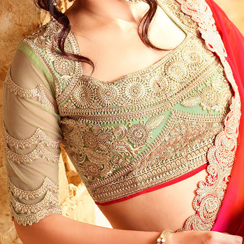 gold and green saree jacket