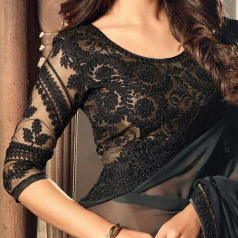 black saree jacket design sri lanka