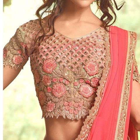 Pink and Gold Heavy Work Saree jacket Design