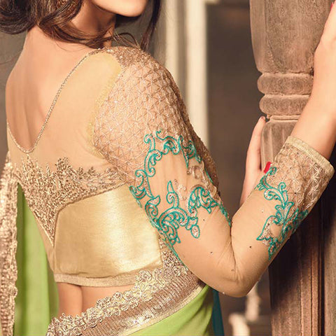 Green and Gold Heavy Work Saree jacket Design