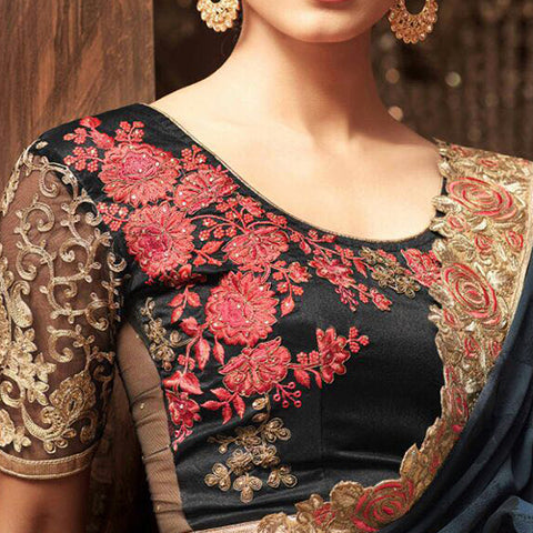 Black, Red and Gold Heavy Work Net Saree jacket Design