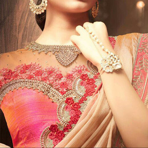 Pink, Red and Gold Heavy Work Net Saree jacket Design