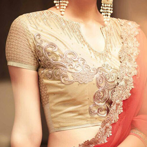 Gold Heavy Work Net Saree jacket Design