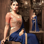 Blue & Pink Heavy Work Saree Sri Lanka