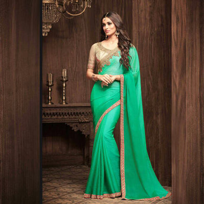 Green and Gold  Heavy Work Saree sri lanka