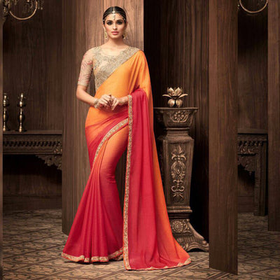 Red and Orange Heavy Work Saree sri lanka