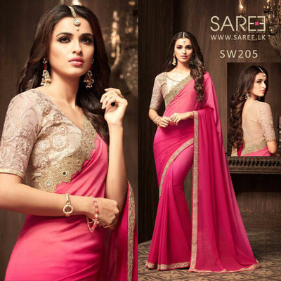 Pink Shaded Heavy Work Saree sri lanka
