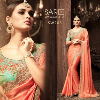 Orange Saree Heavy Work Green Blouse Sri Lanka