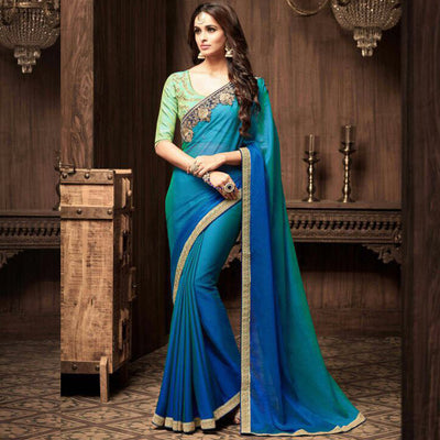 Blue Green Shaded Heavy Work Saree Sri Lanka