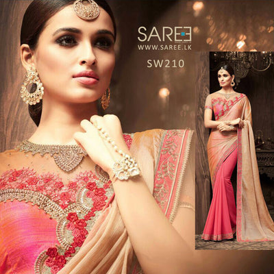 Gold and Pink Heavy Work Saree Sri Lanka