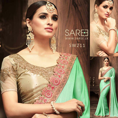 Ligh Green Heavy Work Saree in Sri Lanka