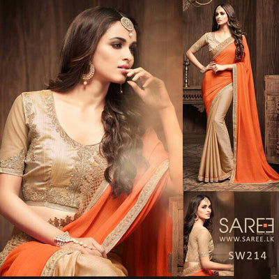 Gold and Orange Heavy Work Saree in Sri Lanka