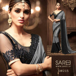 Black and Gray Heavy Work Saree in Sri Lanka