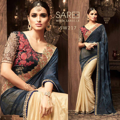 Black and Gold Heavy Work Saree in Sri Lanka