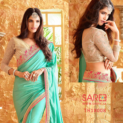 Aqua Colour Georgette Saree with Heavy Blouse Design in Sri Lanka